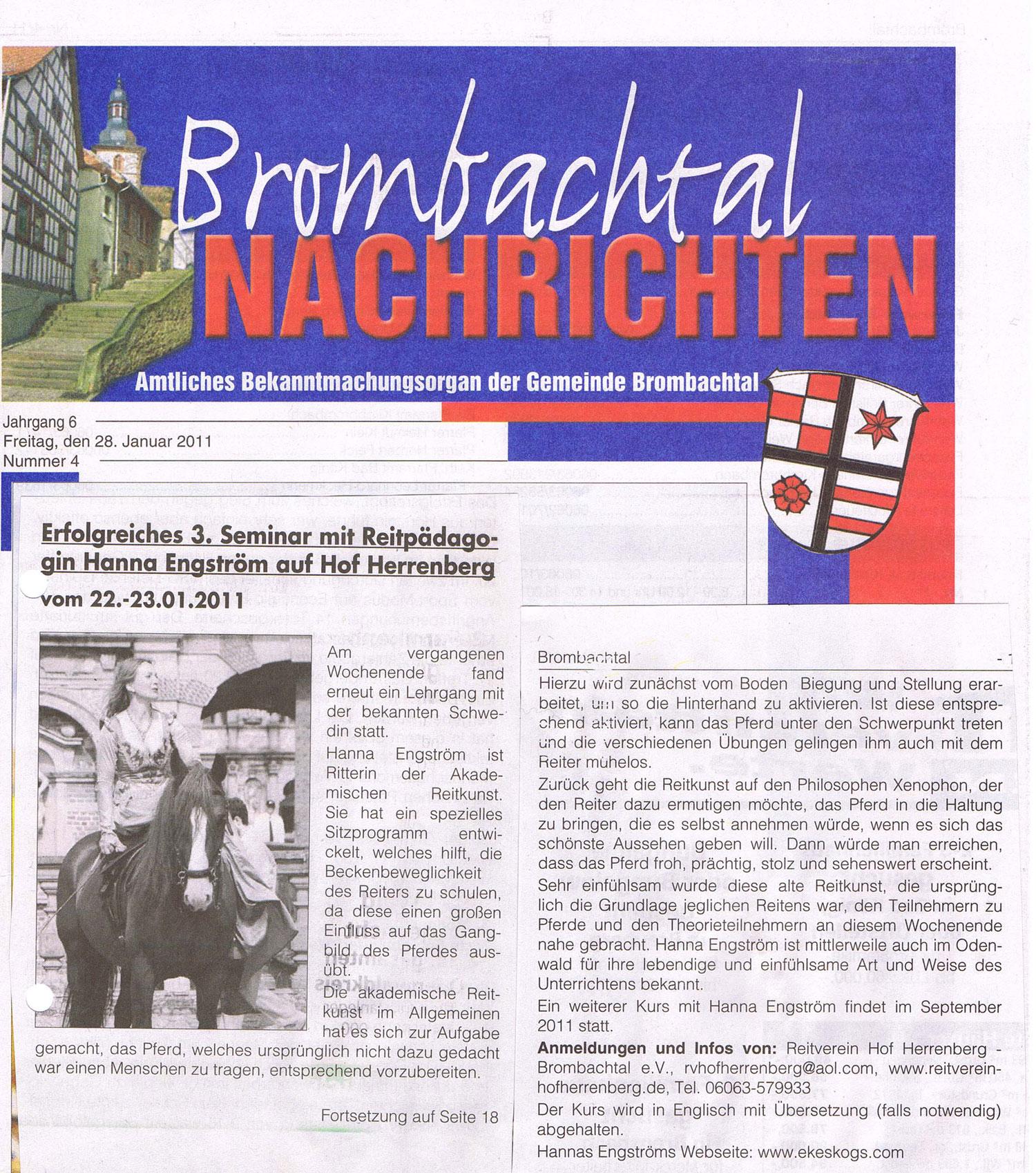 Artikel in Brombachtal Nachrichten